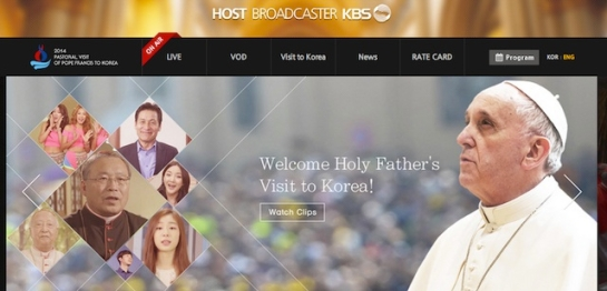 Screen shot of slide from main page of host broadcaster for 2014 Pastoral visit of Pope Francis to Korea - http://pope.kbs.co.kr/pc/eng/main/main.php