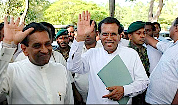 Sri Lanka's new President Maithripala Sirisena screenshot Sri Lanka Mirror Facebook